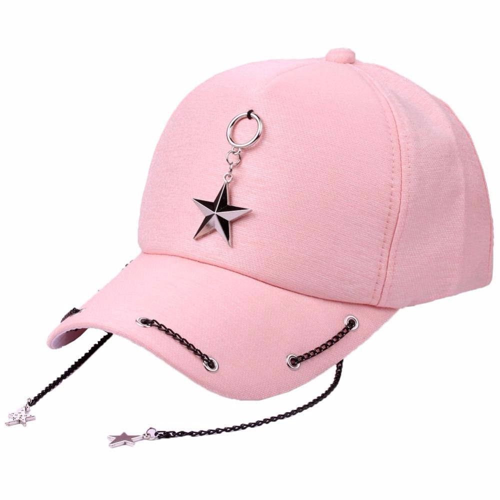 Punk Style Rock Metal Chain Star Hip Hop Cap Hats For Men Women Lover  Summer Baseball Snapback Caps Casual Street Sun Shade Hats Design Your Own  Hat Make ... 8fcd90b52d2f