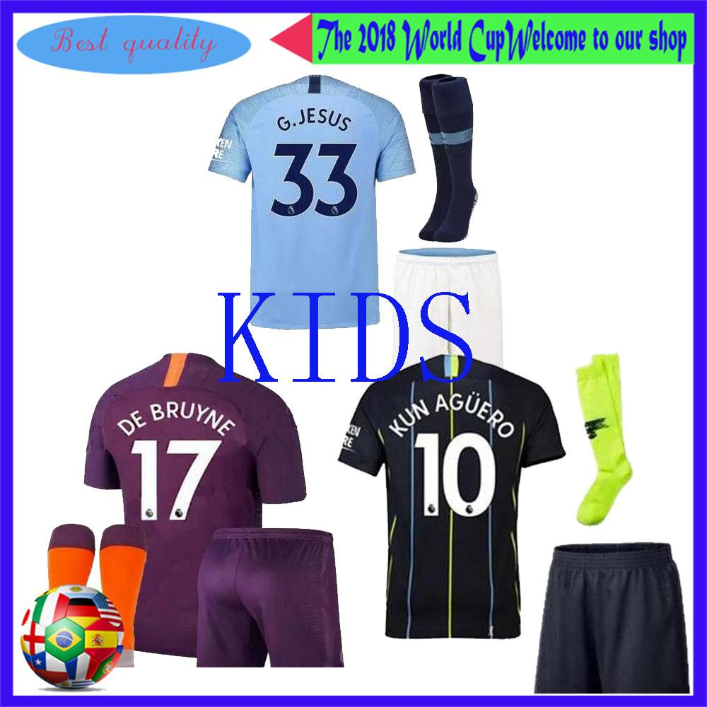 new product 3a572 b9110 Manchester city Soccer jersey kids kit 2018/19 home away KUN AGUERO BOYS  Bernardo DE BRUYNE STERLING kids shirt Child full kit with socks