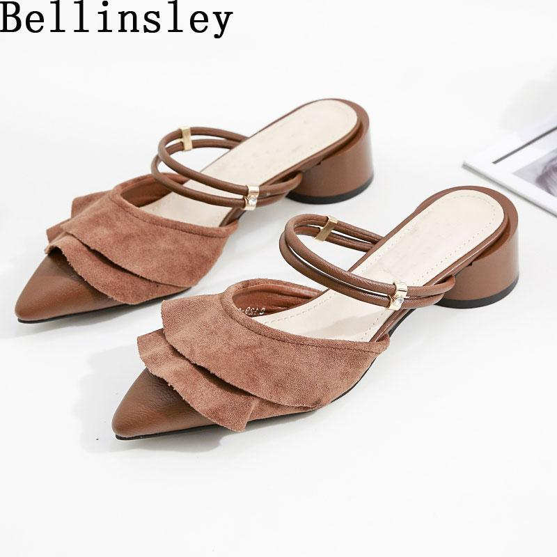 76030f236ca Bellinsley Brand Autumn Flock Pointed Toe Flat Women Slippers Slip On Flat  Ruffles Ladies Shoes Female Loafers Mules Flip Flop Cheap Shoes For Women  Buy ...