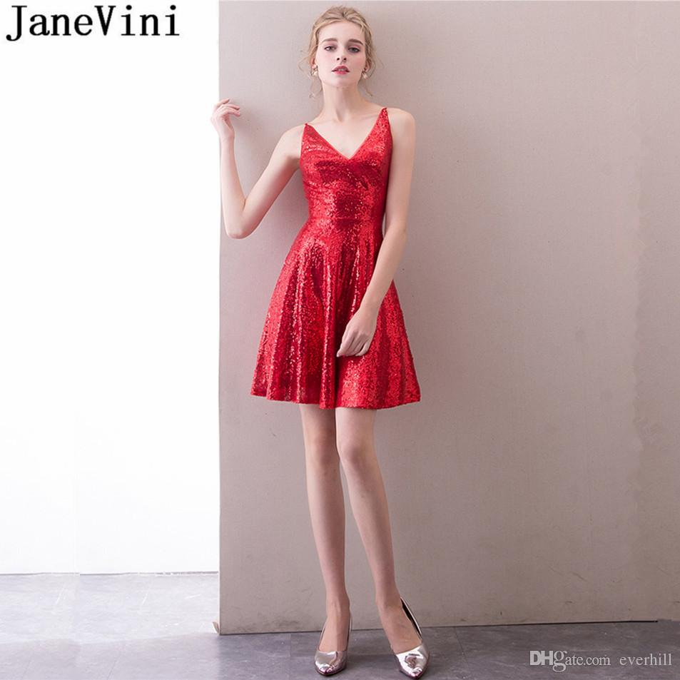 0939631fd47 JaneVini Sequin Junior Prom Dresses 2018 Red Short Homecoming Dress Bling V  Neck Zipper Back Cocktail Dresses Vestidos De Graduacion Cortos Black  Dresses ...