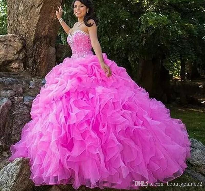 282bfb6aad Ruffles Fuchsia Quinceanera Dresses With Beads Crystals Lace Up Sweetheart  Ball Gowns Graduation Dress Custom Size Prom Gowns Sleeveless Quinceanera  Dresses ...