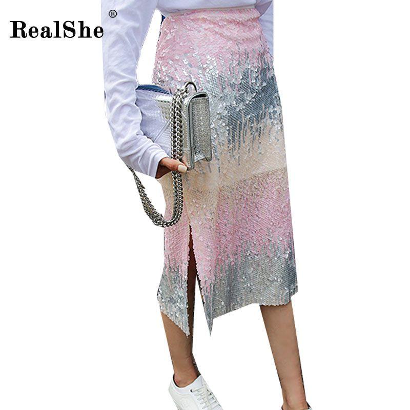 Compre RealShe 2018 Moda Otoño Mujer Falda Lady Sequins Slit Gradient Lápiz  Faldas Mujeres Más Tamaño Sexy Bodycon Midi Falda A  48.04 Del Brry  03363000ae6c