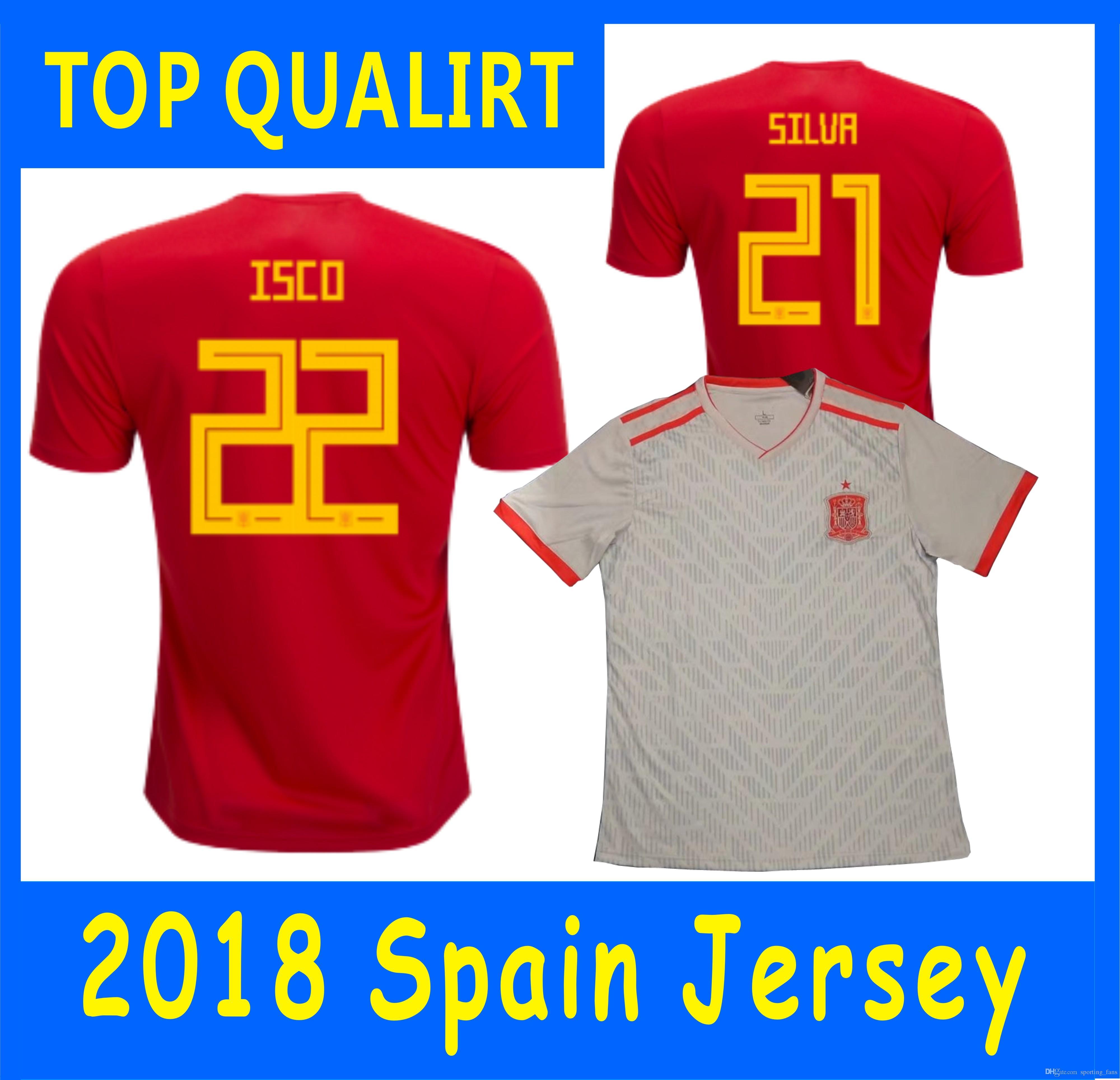 Copa Del Mundo 2018 JERSEYS España Y Fútbol De Casa Camisetas Marco Asensio  Pique ISCO Andrés Iniesta Sergio Ramos Álvaro Morata Sergio Busquets Por ... cec8d262cfa03