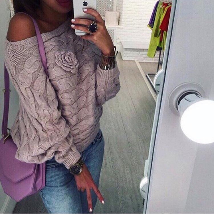 Z&I Women Sweater Winter Autumn Female Chest Three-dimensional Flower Bat Loose Knit Pullovers