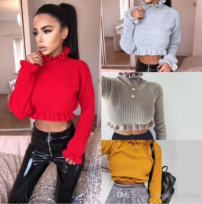 2019 Short 2019 Autumn Winter Fashion Women Ladies Sweater Coats Top  Sweatshirts Slim Fit Ruffled Neckline Pullovers FS5254 From Springwedding 47e44ae4d