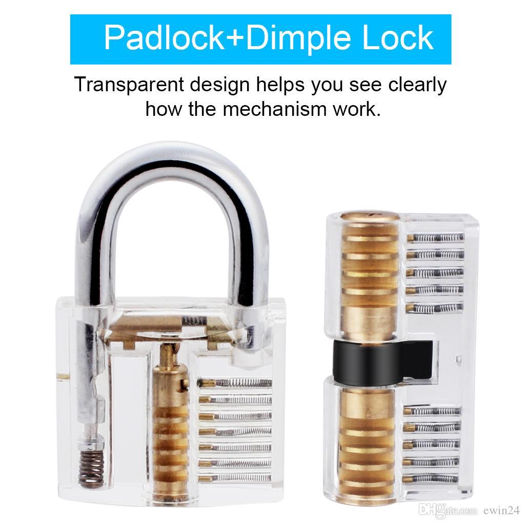 Stainless Steel With 2 Transparent Crystal Lock Locksmith Set Black Zipper Bag + + Transparent Padlock Practice Lock