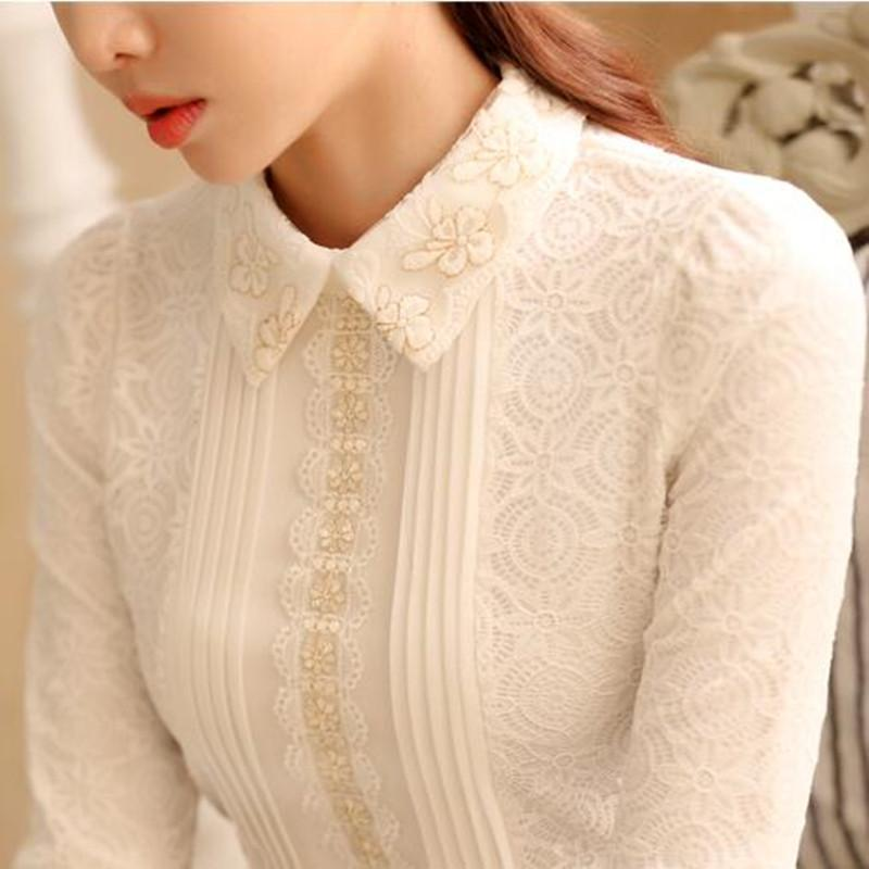00de65b31cf2 2019 Women Pointed Collar Long Sleeve Lace Blouse Elegant Lady Floral  Embroidery White Lace Top Autumn Spring Vintage Pleated Shirt From Paluo,  ...