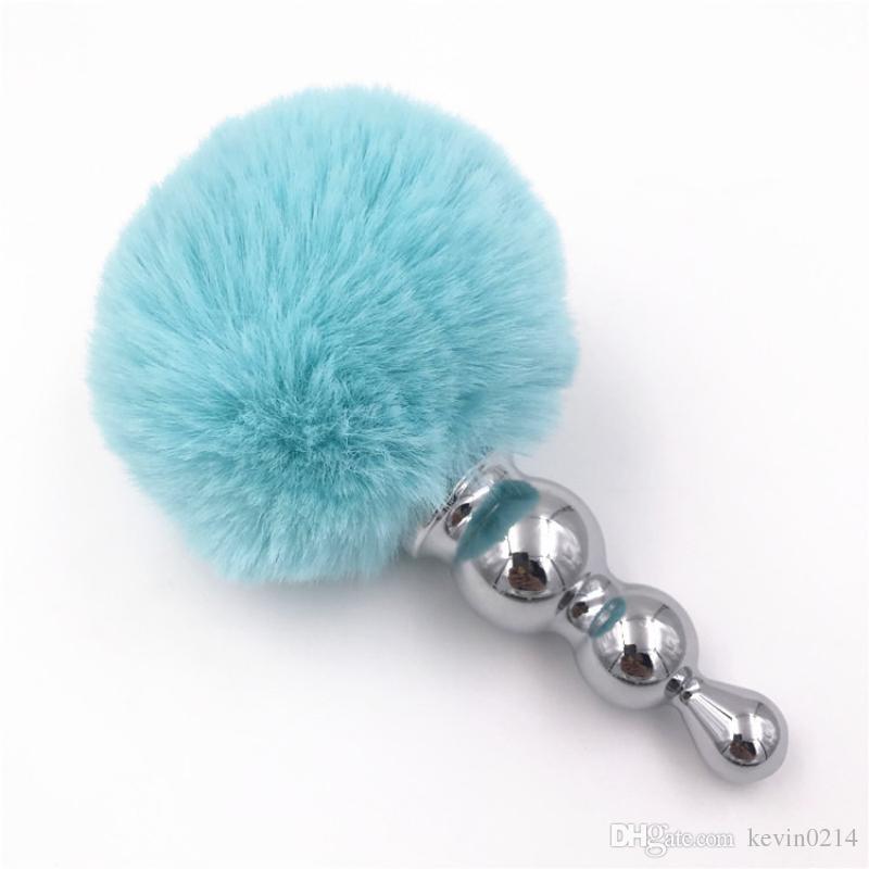 Anal Plug Big White Rabbit Tail Metal Butt Insert Stopper Blue Plush Balls Anus Dilator Anal Sex Toys Women and Men H8-1-66F