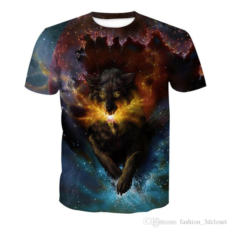 4c13eb7d Galaxy Wolf Printed T Shirt Men Plus Size Casual Hot Sale Tee Tops Funny  Animal Print T Shirt Harajuku Streetwear Fitness Tops Political Tee Shirts  Funny ...