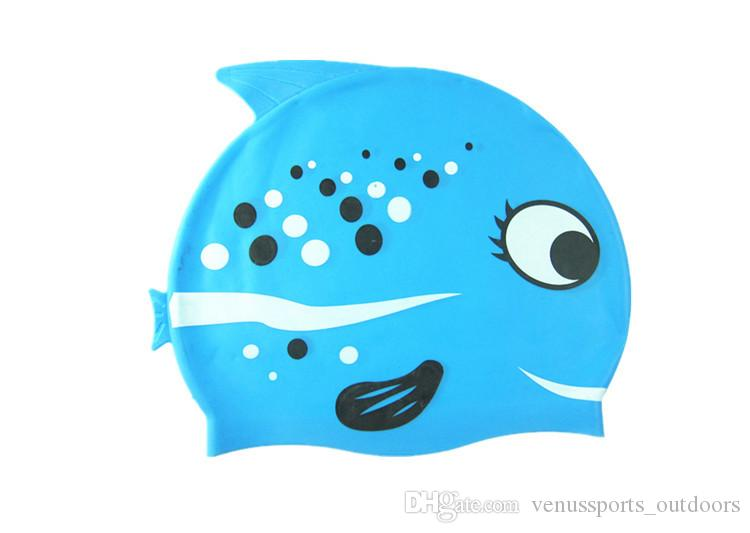 Baby Swimwear Boys Girls Swimsuits Hats Kids Clothes Swimming Caps Silica Gel Children Cute Cartoon Fish Swim Shower Bath Cap