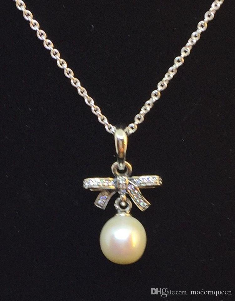 Collana a sospensione con perline 925 in argento Vendita Adatto a forma di stile originale Charms delicati sentimenti 390380p-70 H8