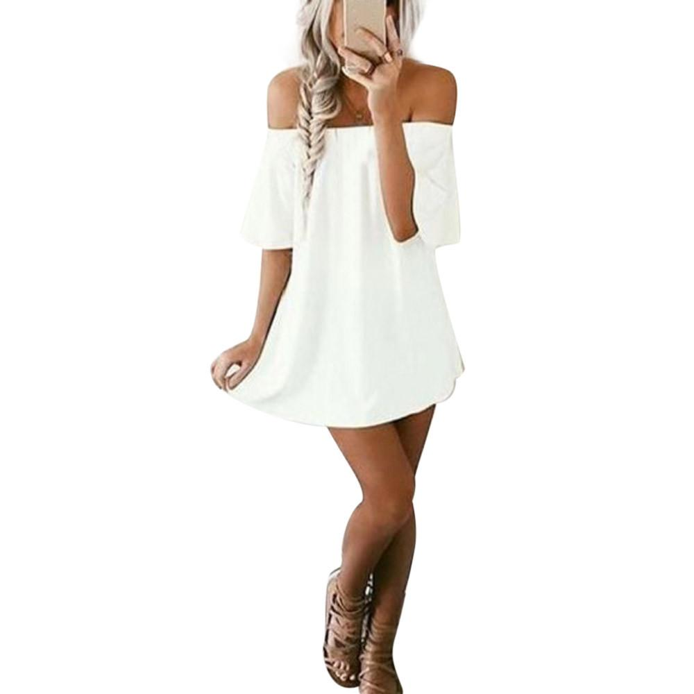 b07866f62e7d Good Quality Female Dress Pullover T Shirt Dress Off Shoulder Elegant Party  Dresses Casual Summer Spring White Dress Women Teenagers Party Dresses Green  ...