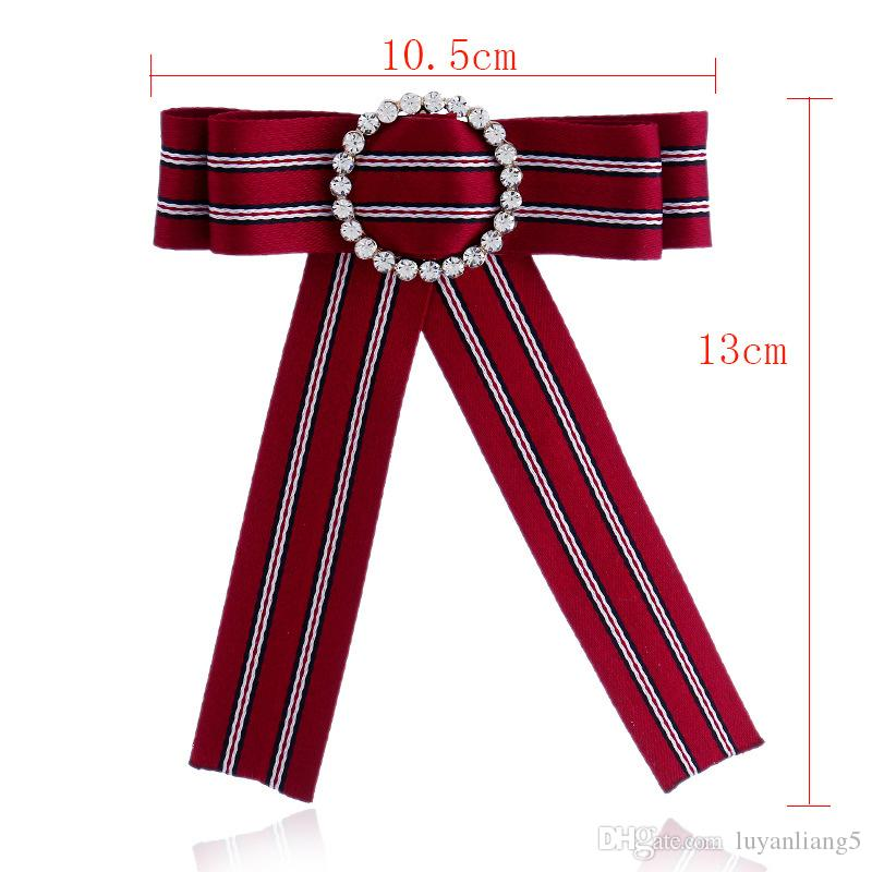 Bow Brooches for Women Necklace 2018 high-grade Crystal Mosaic Brooch Pin Wedding Dress Shirt Brooch Pin Handmade Accessories Gift wholesale