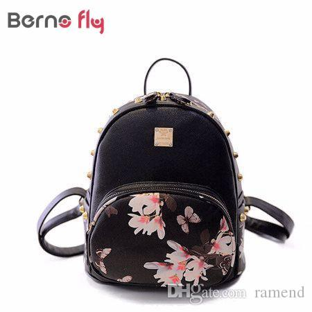 1ad884066358 Wholesale Hot Sale Fashion Women Backpack Famous Brand Causal Bags Designer  High Quality Floral Printing PU Leather Backpacks For Girls Mesh Backpack  ...