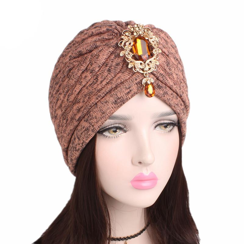 Muslim Women Cotton Thick Ruffle Crystal Pendant Brooch Turban Hat ... daa136767a54
