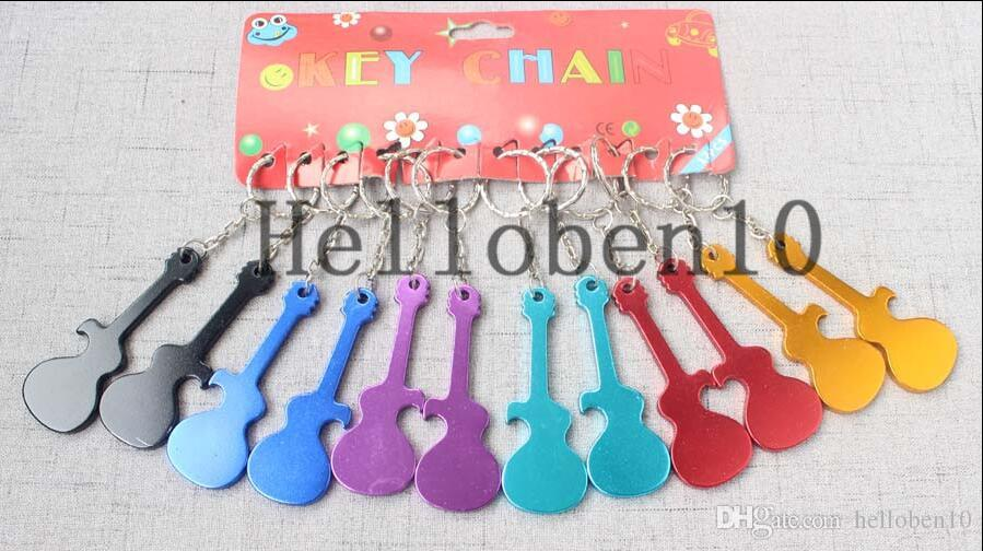 Promotional Gift Custom Logo Engraved Bottle Opener Keychain Guitar Shaped  Metal Aluminum Keyring Key Tag Bottle Openers