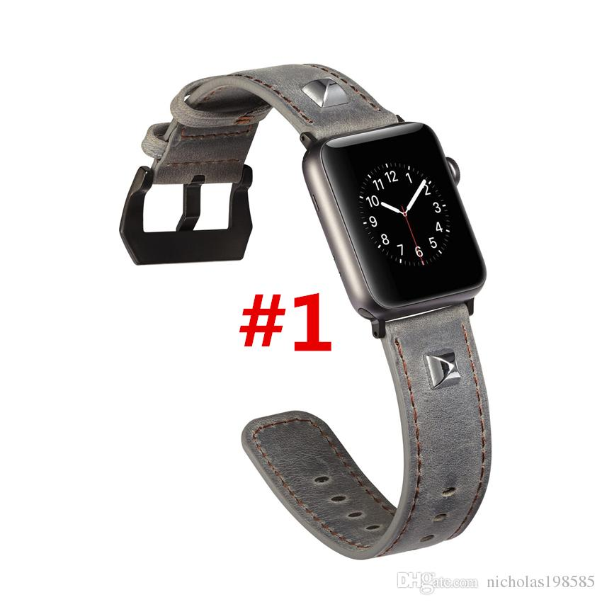 f43f3e93589 Punk Skull Garniture Leather Watchband For Apple Watch Strap Leather Wrist Band  Strap For Apple Watch 38mm 42mm With Adapter Connector Leather Strap For ...