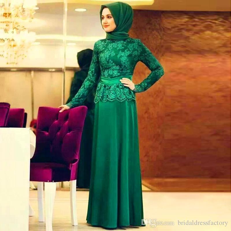 Formal Lace Long Sleeve Muslim Evening Dress Hijab Turkish Maxi Abaya Dubai  Islamic Kaftans Clothing To Prom Gowns Party Dresses Prom Dresses Under 150  ... 06f96e12caab