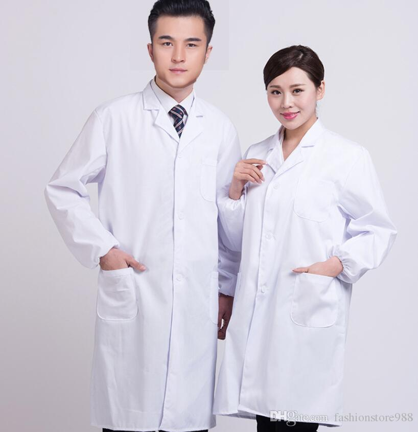 Women Men Long Sleeve White Medical Uniform Hospital Nurse Doctor Scientist Laboratory School Lab Coat Work Wear Protect Clothing
