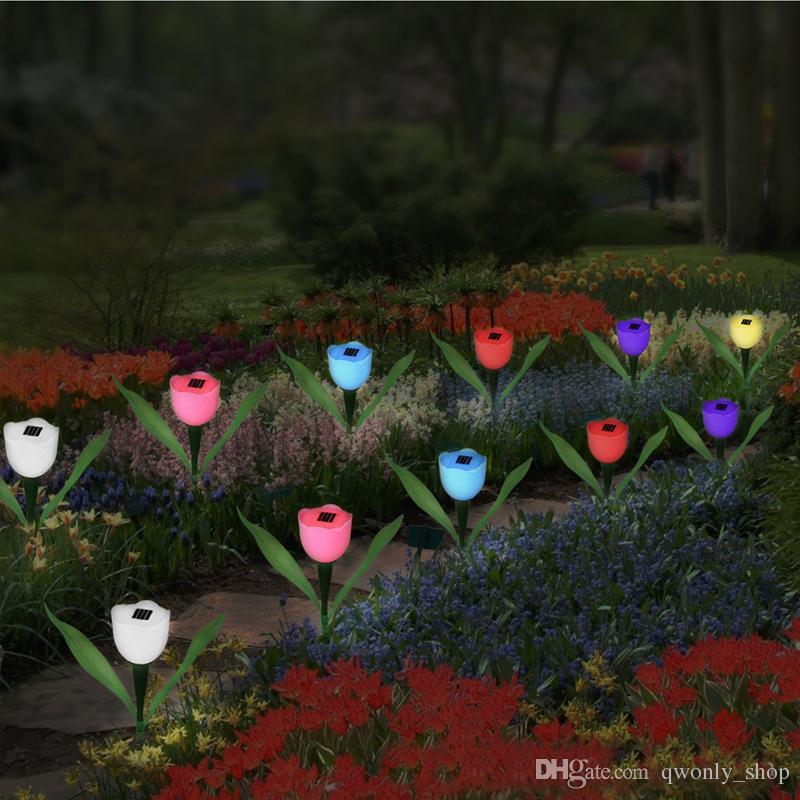 Energia Solar Lâmpada Artificial Tulipa Flor Paisagem Jardim Ao Ar Livre LED Light Flores Para Decoração de Festa de Casamento