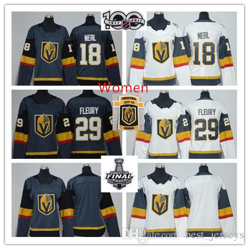 d4522b83a 2018 Stanley Cup Finals Vegas Golden Knights Jersey Womens 29 Marc Andre  Fleury Jerseys Ladies 18 James Neal Hockey Jerseys Grey White Blank UK 2019  From ...