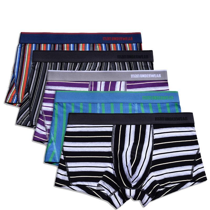 df5591fdd81d Men's Boxers Sexy Striped Boxer Cotton Underwear Shorts Soft ...