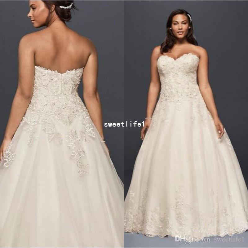 2019 Plus Size A-Line Tulle Wedding Dresses Sweetheart Neckline Bodice With Beaded Applique Sequins Detail Bridal Gowns Custom Made