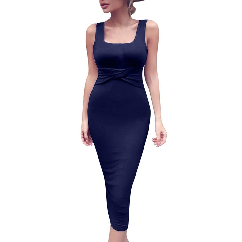 2019 Casual Women Dress Summer 2018 Sexy Ladies Square Collar Sleeveless  Tight Party Dresses In Navy And White HIgh Quality From Harrvey 629e8f6685d2