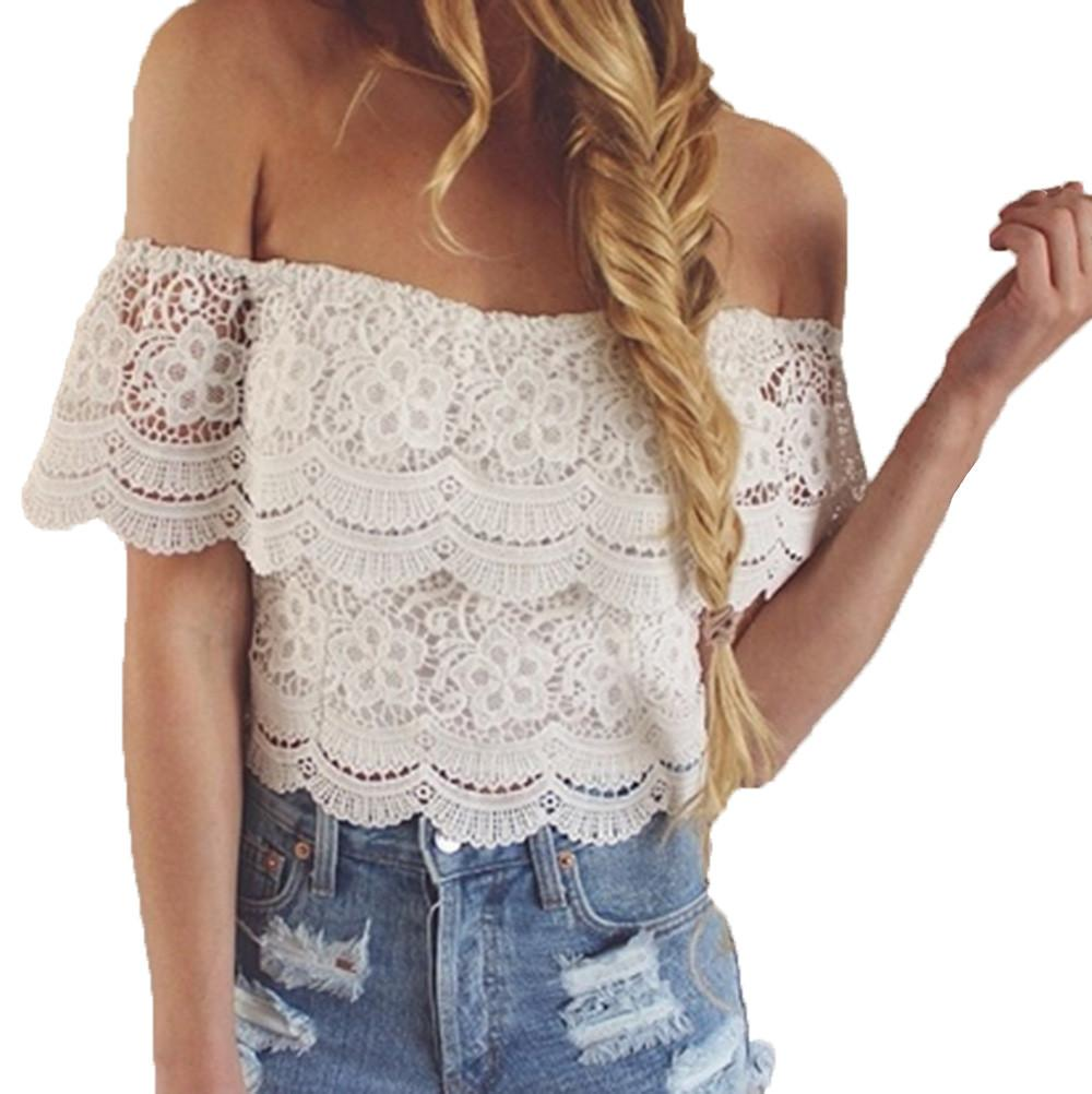 4ad6e755f5577 2019 New Women Tops Off Shoulder Lace Blouse Summer Sexy Lace Stitching Off  Shoulder Blouse Casual Party Solid Short Sleeve Shirt From Baica