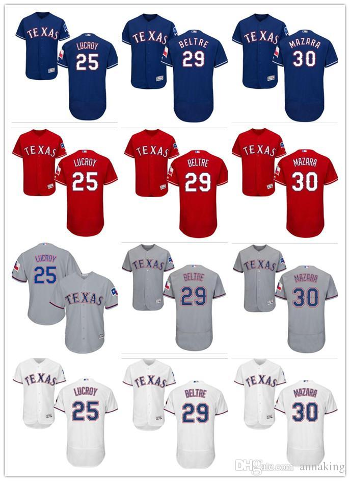 new product 8c811 3e9f6 custom Men's Majestic Rangers #25 Jonathan Lucroy 29 Adrian Beltre 30 Nomar  Mazara Red Gray White Blue Authentic Baseball Jerseys