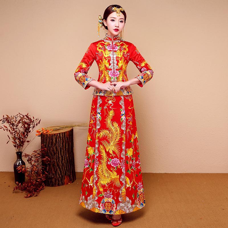281b23a582 New Red Traditional Chinese Wedding Dress Qipao National Costume Womens  Overseas Chinese Style Bride Embroidery Cheongsam S-XXL Cheongsams Cheap  Cheongsams ...