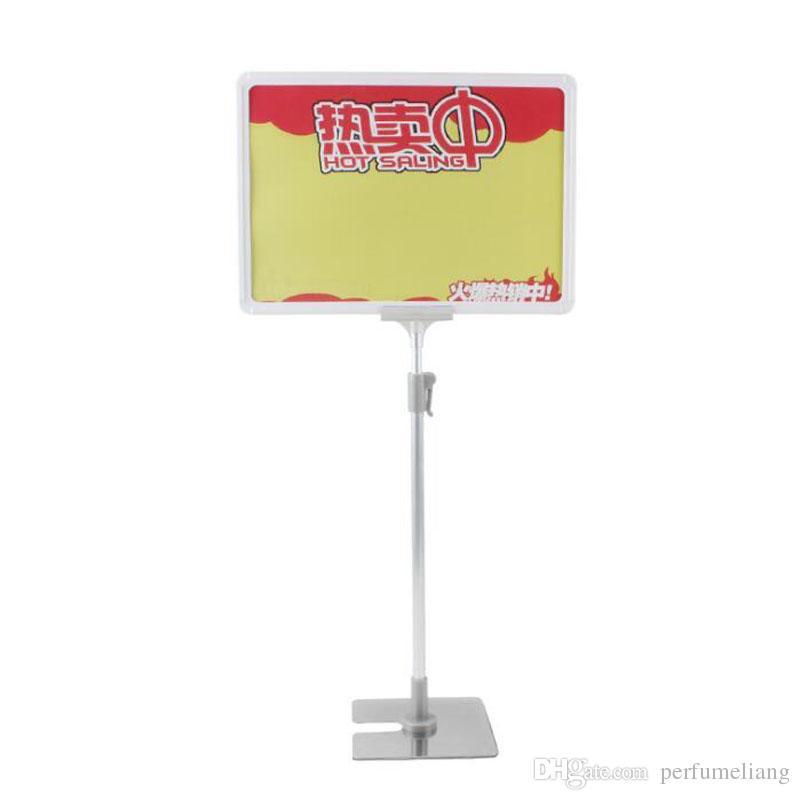 Adjustable Price A4 Desktop Display Supermarket POP Poster Frame Double-sided Price Tag Stainless Steel Base ZA6920