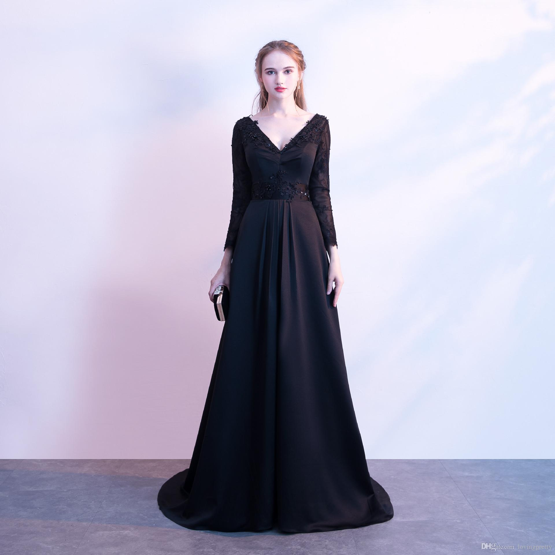 Satin Lange Abendkleider Black Backless Evening Dresses With Lace ...