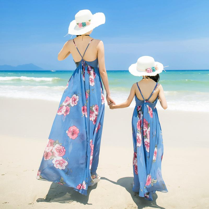 Mother Daughter Dresses Summer Holiday For Mommy And Me Family Look Clothes Mom Daughter Bohemian Dress Family Matching Outfits