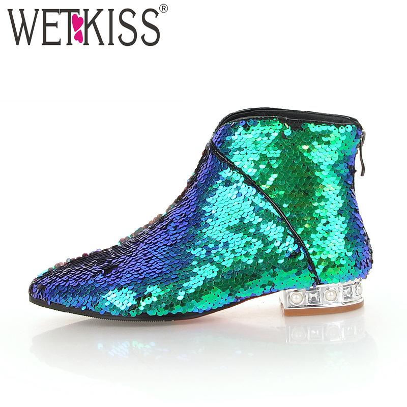 WETKISS Winter Ankle Women Boot Bling Pointed Toe Short Plush Crystal Footwear  Female Boots Low Heels Sequin Shoes Women 2018 Red Boots High Heel Boots  From ... e4e6675726eb