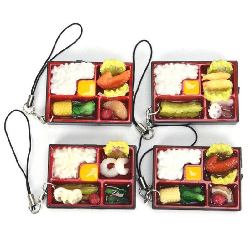 Cute Simulation Sushi Key Chain Keyring Fake Japanese Food Box Lanyard  Keychain Handbag Pendant Lanyard Key Ring Funny Toys EEA164