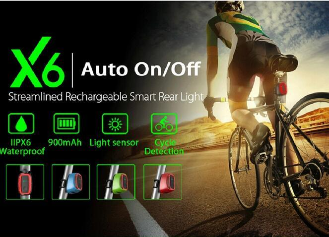 Smart Bicycle Tail Light LED Rear Lamp Auto On//Off USB Rechargeable Waterproof