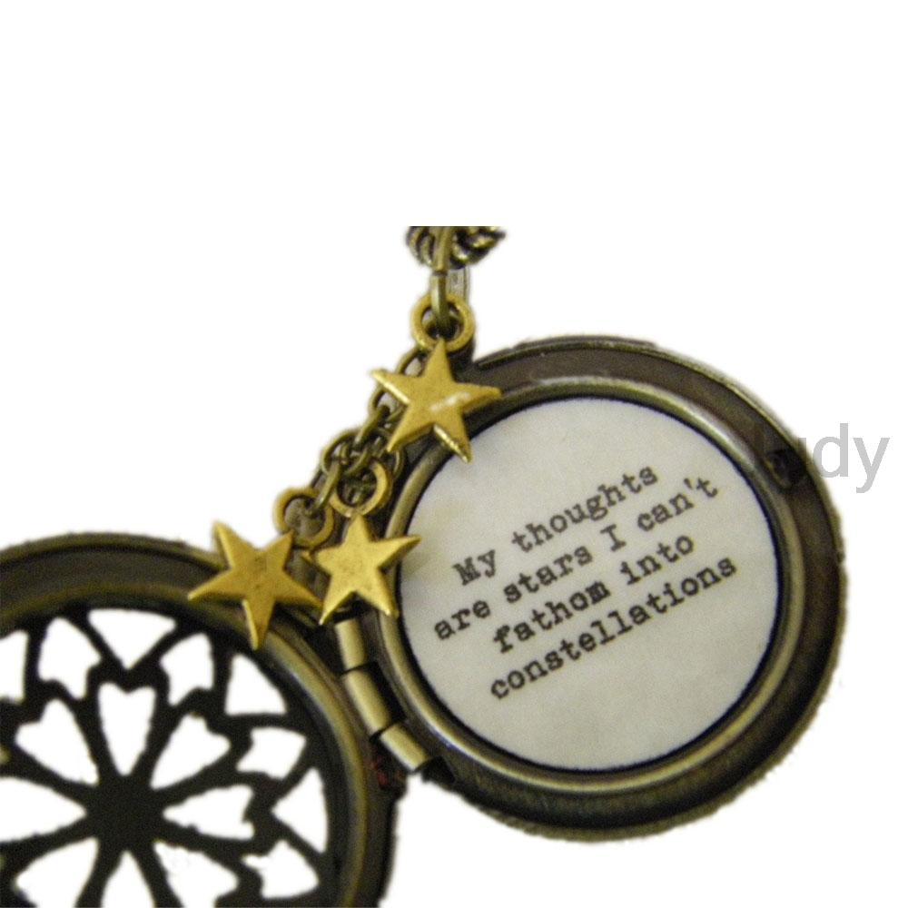 2019 Fault In Our Stars Necklace Quote Locket My Thoughts Are Stars