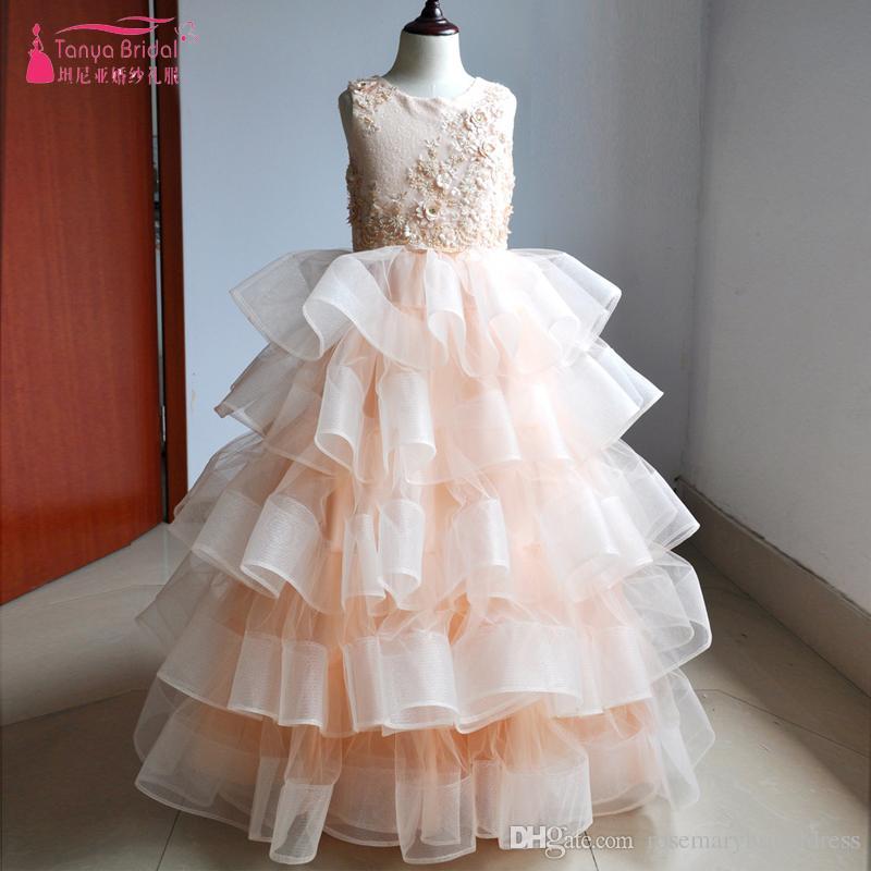 d173985d5 Blush Princess Ball Gown Flower Girl Dresses Stunning Ruffles 3D ...