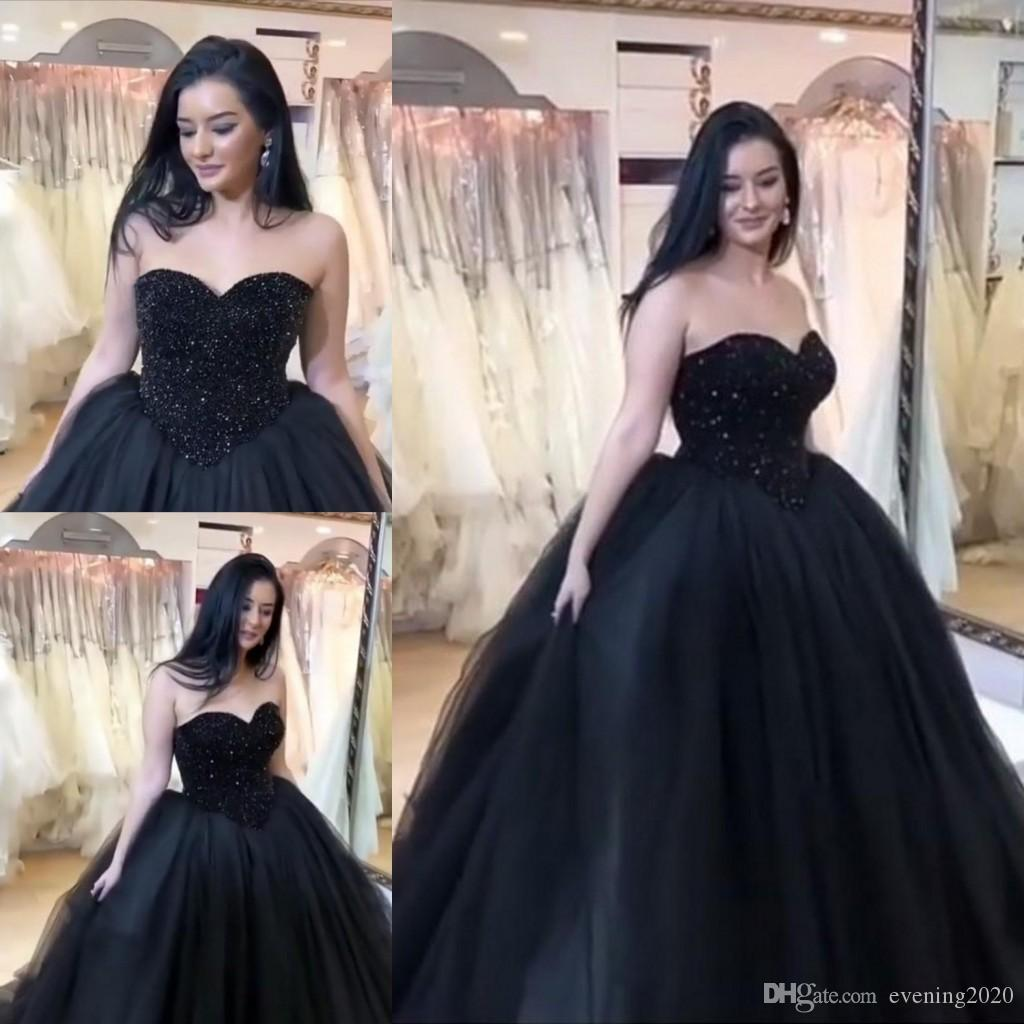 26777cc90678 2018 Romantic Black Ball Gown Quinceanera Dresses Sweetheart Appliques  Sweep Train Evening Dresses Custom Made Prom Dresses White Puffy  Quinceanera Dresses ...