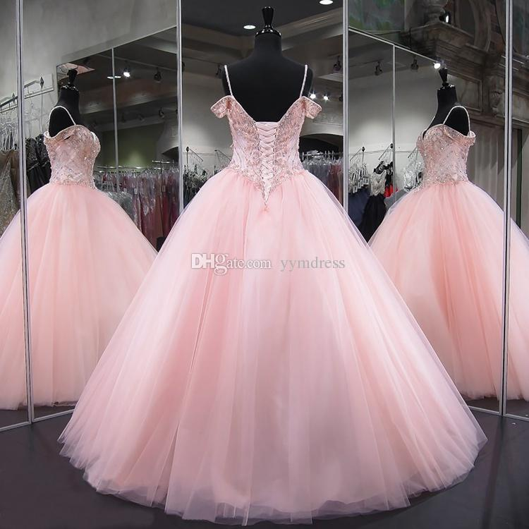 Pink Quinceanera Dresses 2021 Modest Masquerade Ball Gown Prom Dress Sweet 16 Girls Birthday Party Lace Up Off Shoulder Full Length