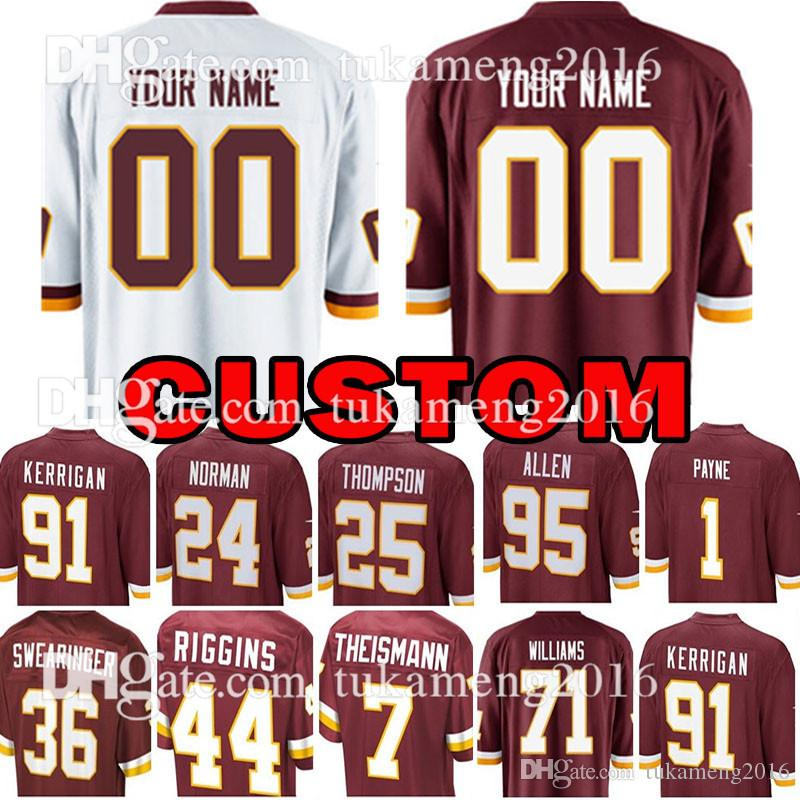 low priced 834b0 d630b Custom Washington Redskins Jersey 1 Da Ron Payne 71 Trent Williams 44 John  Riggins 95 Jonathan Allen 91 Ryan Kerrigan Football Jerseys
