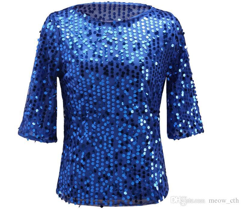 Nuove donne Top Summer Tshirt paillettes Blingbling Vest Tshirt Slim Tee Shirt da donna a maniche corte T-shirt allentate