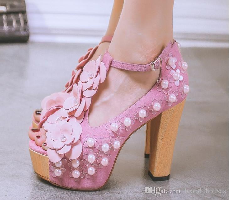 2018 Sommer Rosa Perle Chunky Ferse Peep Toes Blume Hochzeit Schuhe Frauen Sommer Feste Plattform High Heel Freies Verschiffen