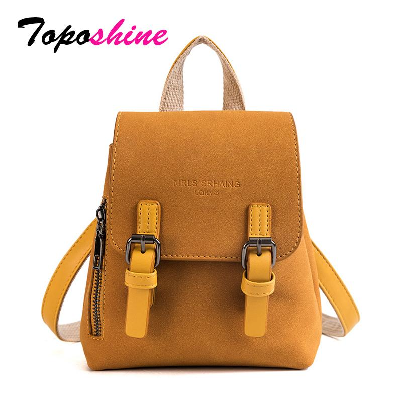 6d798fbbc49e Toposhine Solid Quality PU Leather Women Back Pack Korean Simple Style Small  Fashion Girl Shoulder Bag Casual Shopping Handbag Cheap Bags Cute Purses  From ...