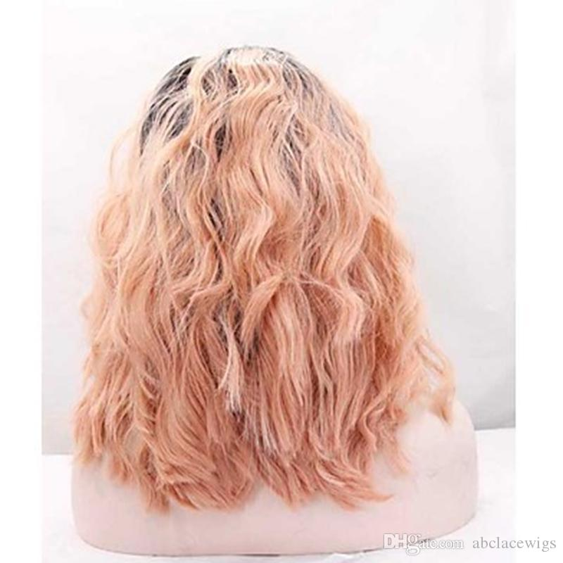 Hot Sexy Cosplay Ombre New Pink Short Curly Wavy Wigs with Baby Hair Heat Resistant Glueless Synthetic Lace Front Wigs for Black Women
