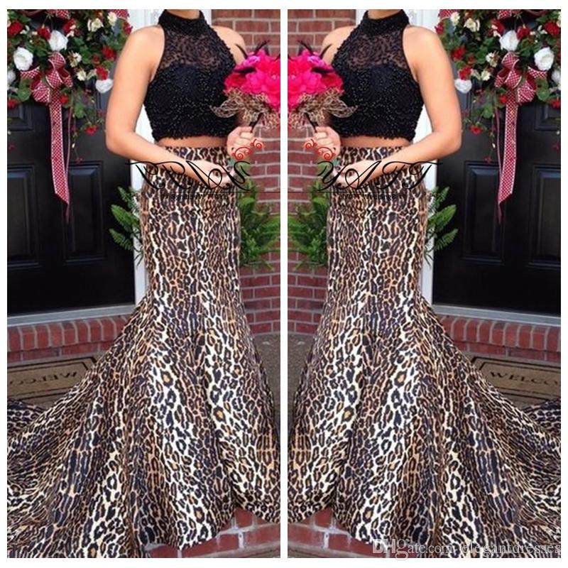 ac1564fb1c96 2018 Two Piece Black Lace Top Sexy Leopard Print Custom Prom Dresses High  Neck Formal Sweep Train Mermaid Evening Dress Party Gowns Halter Top Prom  Dresses ...