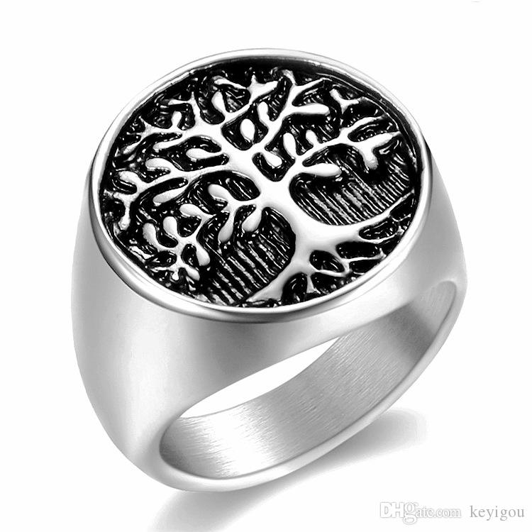 Punk Men Silver Tree of Life Anello Casting Stainless Steel Life Tree Anelli per uomo Anello gioielli Bague Homme