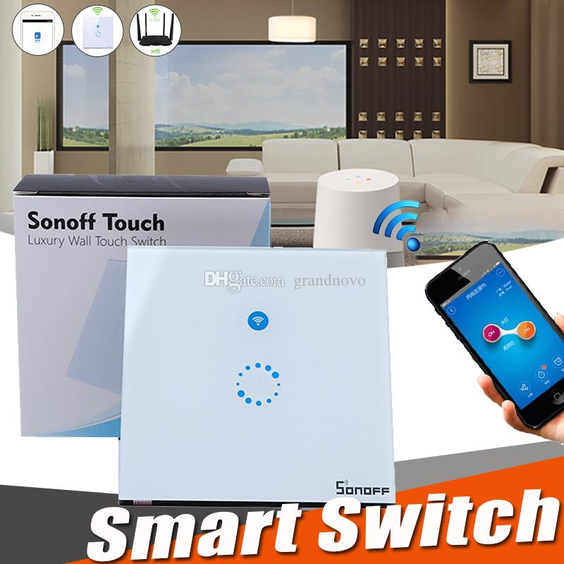 Sonoff Wifi Touch Wall Switch Wifi LED Touch Timer Switch Glass Panel  Controller Light SwitchHome Remote Control APP US EU Plug Smartphone