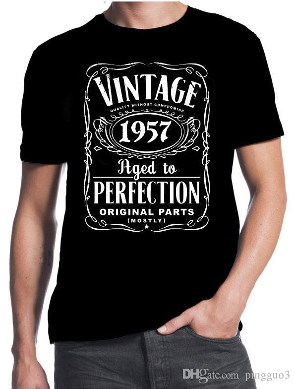 60th Birthday Vintage Aged To Perfection 1957 60 Years Old Gift Present T Shirt 3D Men Hot Cheap Short Sleeve Male Shirts With Awesome